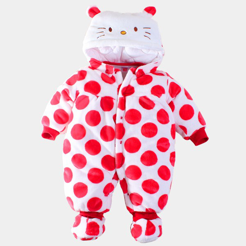 2017 New Cute Baby Romper Newborn Winter Warm Flannel Cotton Cartoon Baby Girl Hello Kitty Clothing Toddler Kids Jumpsuit<br><br>Aliexpress