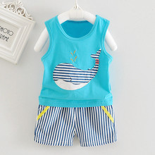 Mother Nest Newborn Baby Boys Girls Sleeveless Whale Print Top+Shorts Outfits Clothes 2017 Character Baby Set Dropshipping 3435