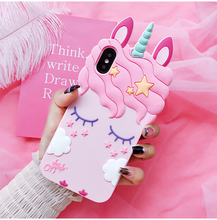 iPhone X Unicorn phone Cases iphone 8 8plus 7 7plus 6 6S 6plus Cute Cartoon horse Soft back case cover girl case