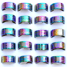 Wholesale Lots Jewelry resale Arc Rainbow color Stainless Steel Rings(China)