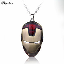 Wholesale Marvel Movie Comics Avengers Iron Man Vintage Bronze Gold Color Metal Mask Statement Necklace Jewellery