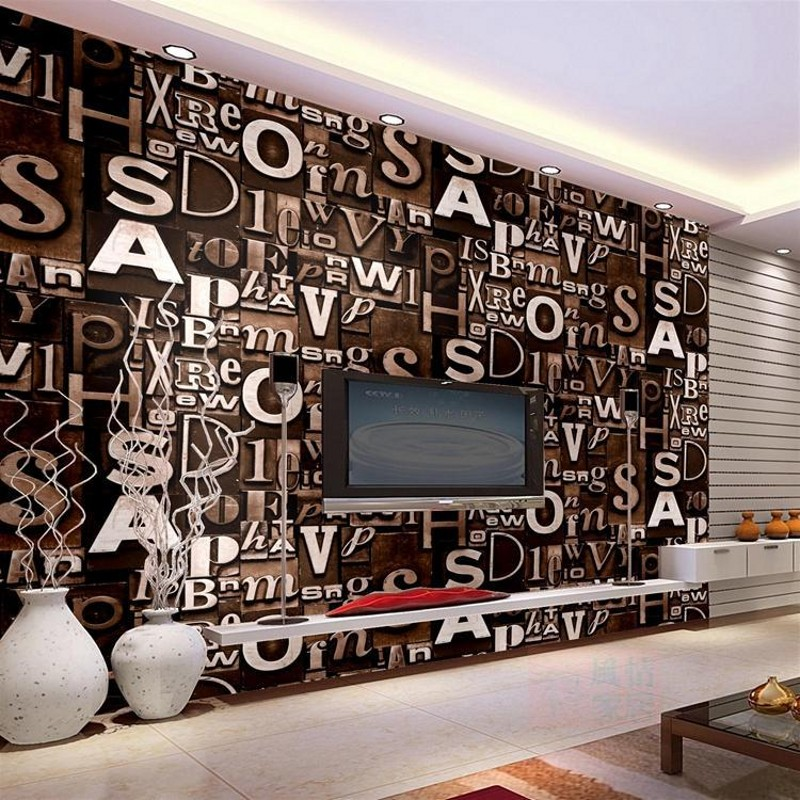 beibehang 3d English letter wallpaper living room bar coffee shop clothing barber shop studio retro PVC wallpaper decoration<br>