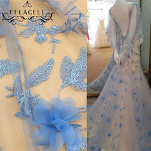 FFLACELL 1 Meter lace fabric mesh material DIY Wedding dress clothing accessories Net embroidery chiffon flower Wide 140cm