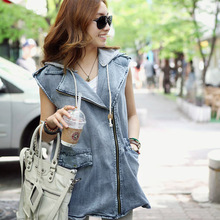 Detachable hood sleeveless denim vest women's fashion zipper hooded letter printed vest free shipping(China)