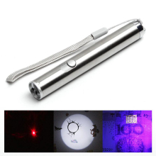 Mini Portable Aluminium Alloy LED UV&Red Laser&Lighting Flashlight Multifunctional LED Waterproof Powerful LED Flashlight Torch