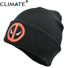 CLIMATE New Hot Men Women Winter Warm Beanies Hat Deadpool Heros Hat Beanie Soft Hip Hop Black Warm Knitted Caps For Men Women(China)