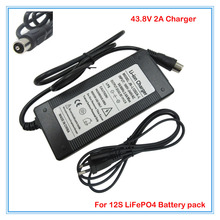 Wholesale 10pcs/lot 43.8V 2A LiFePO4 battery Charger 36V 2A charger RCA Port Used for 12S 36V 10Ah 12AH 15AH e-bike LFP battery(China)