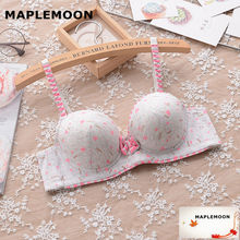 8113 gray Animal Prints Push Up Padded Cute student young girl gather soft underwear small chest V type new Underwire bras