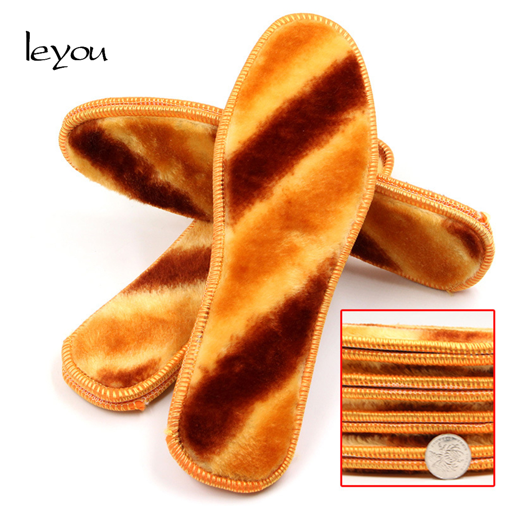 Leyou Unisex Fur Insoles Wool Winter Insoles Heate...