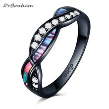 Men CZ Cross Ring Fashion colorful shiney Shell Black Gold Filled Vintage Wedding Ring For Women alliance Anel DR1743(China)