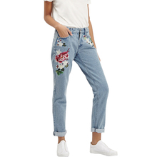 Vintage Retro high waist jeans women denim flower pencil pants designer embroidered jeans plus size 2017 new