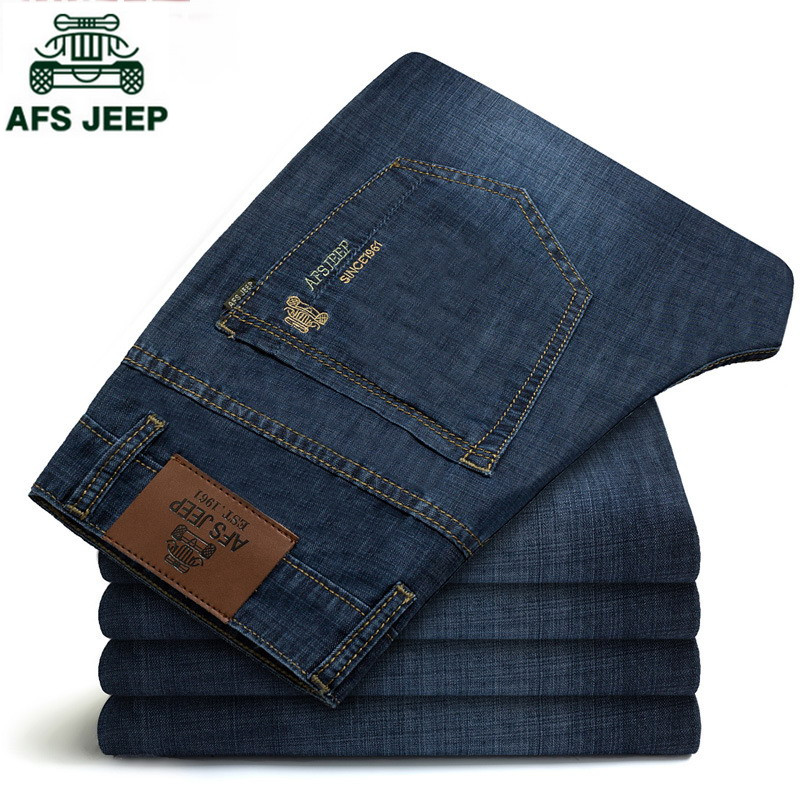AFS JEEP 2017 Middle-aged Mens Plus size 30-44 Casual Brand Spring Straight Denim Jeans Man Trouser long Cowboy Pant 6002Одежда и ак�е��уары<br><br><br>Aliexpress