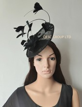 New design.Black sinamay Feather fascinator Kentucky derby Hat.