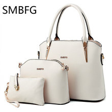 Women Leather Handbags 3 set of the composite bag Female Sweet Lady Fashion Handbag Messenger Shoulder Messenger Crossbody drop(China)