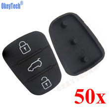 OkeyTech 50pcs/lot 3 Buttons Car Remote Key Rubber Case Button Pad Fit For Hyundai For Kia I30 IX35 I20 for Kia Key Pad Silicone