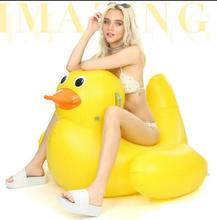 Summer Waterpark Fun Toys Water Play Inflatable 115x115x85cm Yellow Duck Float Ride On Cute Animal Toy for Girl Adult Kid Gift
