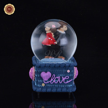 WR Crystal Ball Music Box Crystal Ball Box Electronic Box Snowflake Castle In The Sky Glass Snow Ball Christmas Holiday Gifts