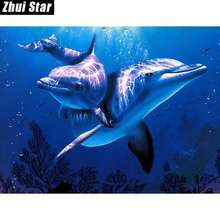 New 5D DIY Diamond Painting Dolphins Embroidery Full Square Diamond Cross Stitch Rhinestone Mosaic Painting Home Decor Gift