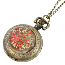Gnova Platinum Crystal Pocket Watch Women Vintage Real Flower Retro Old Fashion Rhinestone Necklace Watch Top Quartz Clock A862(China)