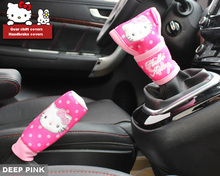 Hot selling pink cartoon Hello kitty girls car gear shift covers handbrake covers Synthetic fiber auto interior accessories