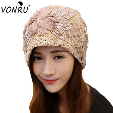 New Fashion Lace Flower Hats Casual Style Cap Elegant Spring and Autumn Vintage Skullies Feminina Beanies Hats for Women 1MZ0253