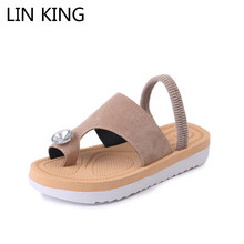 LIN KING Comfortable Slip On Flip Flop Wedge Slippers Sexy Bohemian Women Summer Shoes Fashion Grystal Solid Woman Summer Shoes
