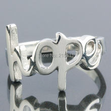 "SUNYIK Punk Cut out Hollow ""HOPE"" Silver Stainless Steel Finger Ring Fashion Jewelry Size US 7-12"