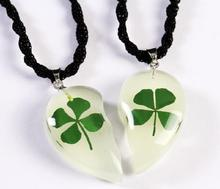 FREE SHIPPING 2 PAIR Artificial natural four leaf clover glow in the dark heart sweet pendant