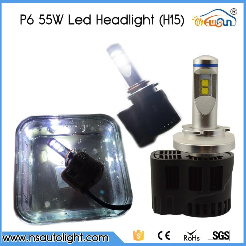 2016 New P6 Led Car Headlight Bulbs H15 5200Lm 55W High Power 3000K/4000K/5000K/6000K Car Styling Lamp Waterproof No Warning<br><br>Aliexpress