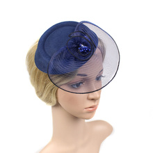 2016 New European Simple Floral Mesh Top Hat Fascinator For Women Purple Navy Red Ladies Wedding Fascinator Hair Accessories