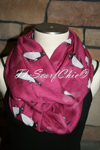 Penguin Infinity Scarf-Arctic Penguin Maroon Circle Loop Scarf Chunky Infinity scarf