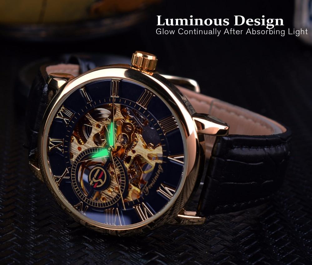Forsining 3d Logo Design Hollow Engraving Black Gold Case Leather Skeleton Mechanical Watches Men Luxury Brand Heren Horloge 4