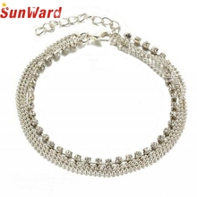 Bracelets on the feet Silver Anklets 2017 Hot Multi Layer Silver Crystal Ball Bracelet Anklet Foot Chain Women Jewelry pesca(China)