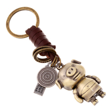 Antique Bronze Cartoon Pig Keychain Bag Keyfob Charms Car Key Chain Ring Holder Novelty Jewelry Fashion Men's Women's Accessory