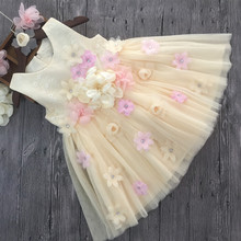 2017 new summer Girls Kid 3D flower dress good quality high grade comfortable cute baby Clothes Children Clothing 25W