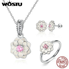 WOSTU Authentic 100% 925 Sterling Silver White Enamel Flower Pink CZ Jewelry Sets Women Party Sterling-Silver-Jewelry XCS036(China)
