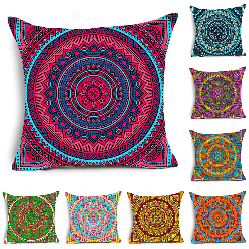 colorful pattern pillow case indians mandala style cushion cover home decor 18/""