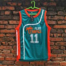 On Sale 2017 #11 ED Monix Flint Tropics Semi Pro Movie Embroidered Logos Basketball Jersey blue Color For Men Free Shipping
