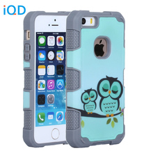 IQD For iPhone 5s SE Case Durable Hybrid Fitted Case 3in1 Hybrid High Impact Hard Floral in Mint Green Pattern Silicone Cover(China)