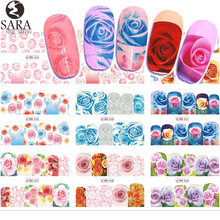 12 Designs Water Transfer Nail Sticker Set Flowers Full Cover Stencil Slider Manicure Color Nail Art Rose Decals SABN553-564