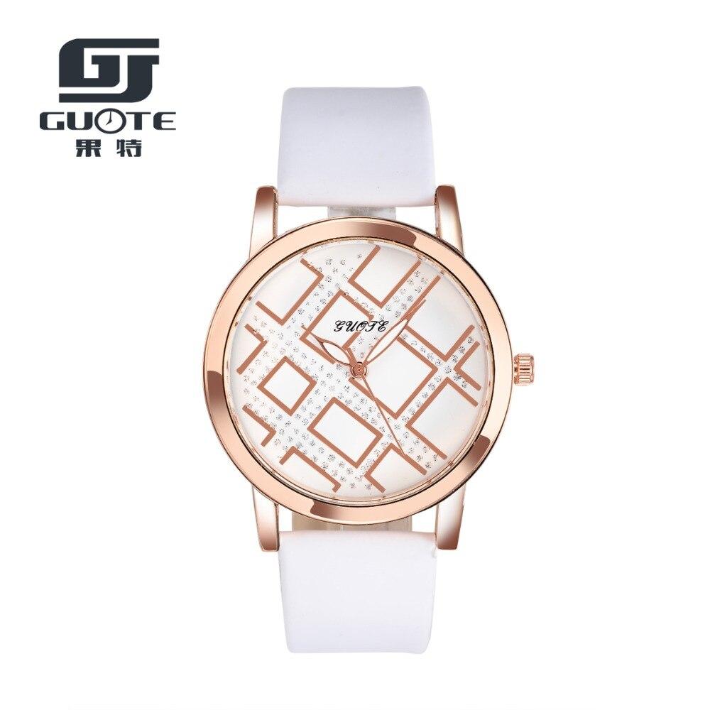 GUOTE 2016 New Brand Fashion Simple Grid Leather Strap Watch Ladies Wristwatches Quartz Casual Watches Women Dress Watch Relogio<br><br>Aliexpress