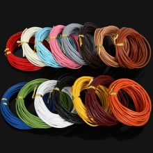 2017 New 5Meter 2mm Round Genuine Leather Cords/Wire/String Thread Fashion Jewelry DIY necklace Bracelet Making 15 Color to Pick