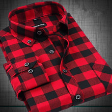 Flannel Men Plaid Shirts 2015 New Autumn Luxury Slim Long Sleeve Brand Formal Business Fashion Dress Warm Shirts