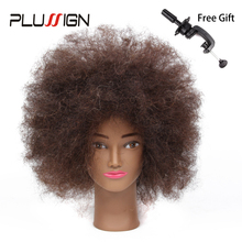 Plussign Hairdressing Head Model Mannequin Head with Hair African American Short Manikin Training Head with Human Hair(China)