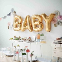 "Hoomall 16"" BABY/LOVE Letter Wedding Balloons Gold Foil Balloons Baby Shower Wedding Party Decorations Inflatable Balloons 1Set(China)"