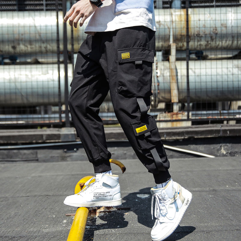 Mens Pants Ribbons Streetwear Hip-Hop Black Man Multi-Pocket Casual M-3XL title=