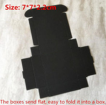 100pcs/lot-7*7*2.2cm Cardboard Aircraft Boxes Candy, Smart Gift, Event Party Decorative Button Black Paper Packing Boxes