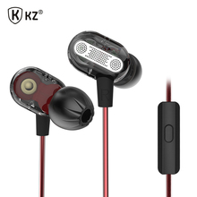 Original KZ ZSE Double Unit Drive In Ear Earphone super HIFI bass earphones headset with microphone for mobile phone(China)