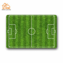 Memory Home Custom Sport Theme Soccer Green Football Field Design Non-woven Fabric Non-slip Indoor Rug Funny Doormat Floor Mat