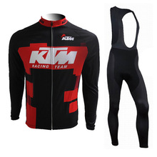 KTM Pro Team Long Sleeve Spring/Autumn Cycling Jersey Men Breathable Bike Clothes MTB Sportswear with 9D Gel Pad(China)